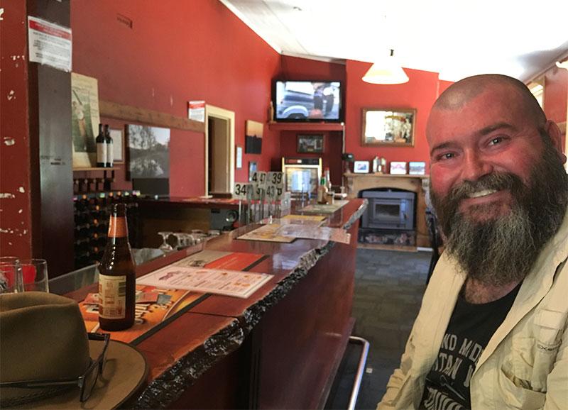 Dave sitting at the bar at North Blinman hotel