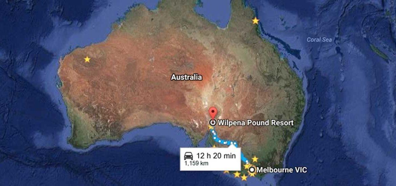 Melbourne to Wilpena Pound Map