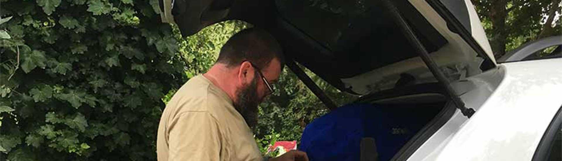 David pondering packup at Bright campsite