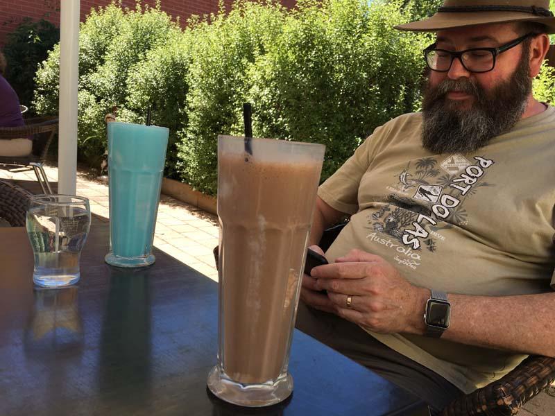 Blue Heaven milkshake and Chocolate milkshake.