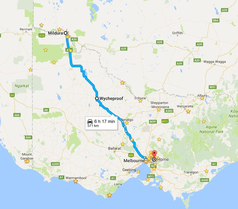 Map of our trip home from Mildura to Melbourne