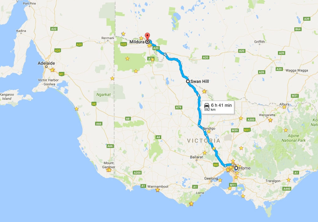 Map of our car trip to Mildura from Melbourne