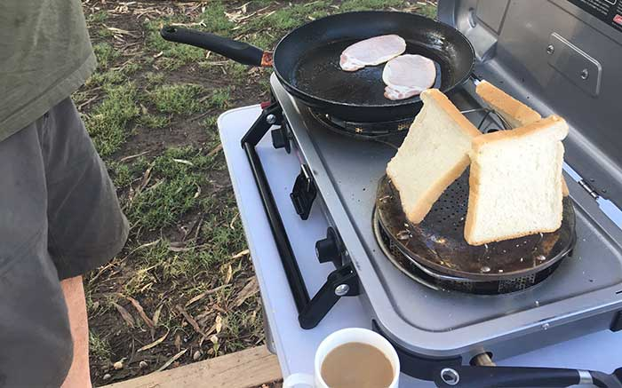 Bread cooking on the Coleman